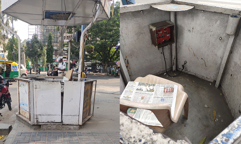 Police kiosks across Bangalore city remain shabby because authorities delay maintenance work.